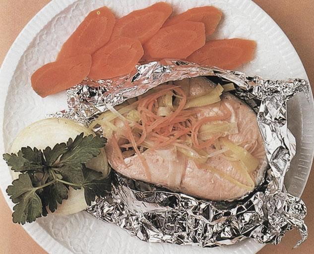 Filetes de salmón en papillotte
